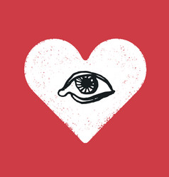 eye symbol inside the heart romance symbol vector image