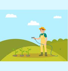 Farmer woman watering plants vector