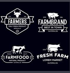 farmers market logo templates stamps labels badges vector image