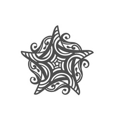 Five pointed star zentangle isolated design vector