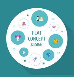 flat icons couple posy brilliant and other vector image