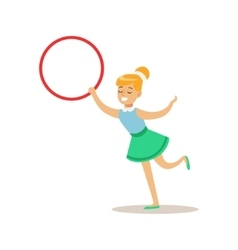 Girl With Hula-Hoop Creative Child Practicing vector