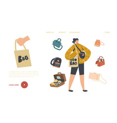 girl with suitcase reticule and eco bag backpack vector image