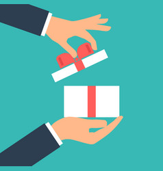 give gift man holds white gift box with a red vector image