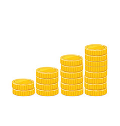 Golden coin ladder money stacks realistic vector