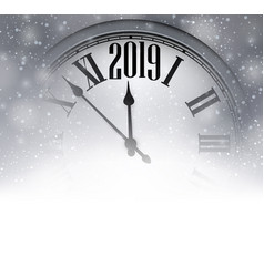 Grey blurred 2019 new year background with clock vector