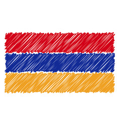 hand drawn national flag of armenia isolated on a vector image