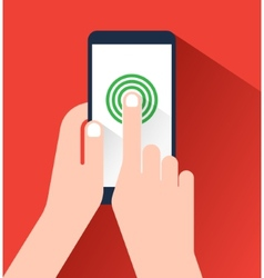 Hand holding and touching a smartphone Flat design vector