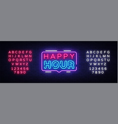 happy hour neon sign design template happy vector image