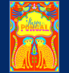 Happy pongal celebration banner in truck art vector