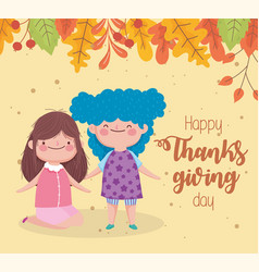 happy thanksgiving day cute little girls fall vector image