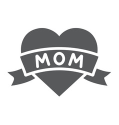 heart with mom inscription glyph icon love and vector image