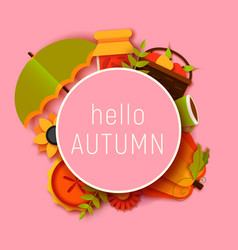 hello autumn greeting card template fall vector image