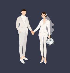 hipster wedding couple in suit pants holding vector image