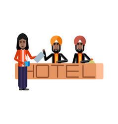 Indian receptionists at hotel reception desk vector