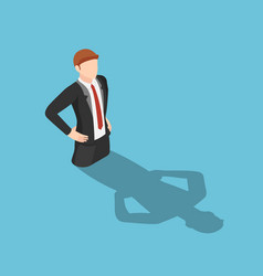 Isometric businessman drowning in his shadow vector