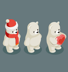 Isometric polar white bear christmas animal vector