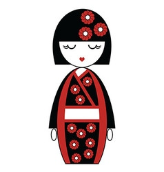 Japanese doll with kimono with flowers vector