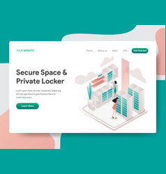 landing page template secure space and private vector image