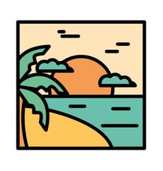 landscape tropical beach palm sea sunset clouds vector image