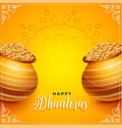Lovely dhanteras festival decorative card design vector