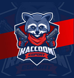 Mafia raccoon with gun mascot esport logo design vector