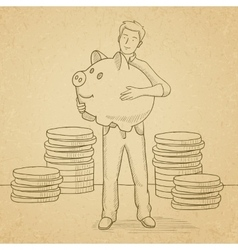 Man carrying piggy bank vector image vector image