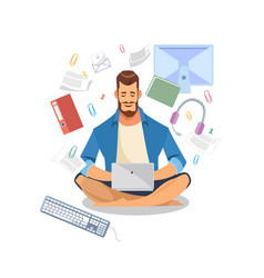 man using laptop for work or learning vector image