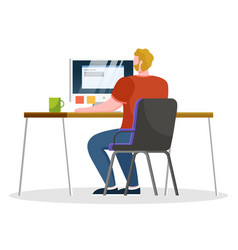 Man work on computer notes and tasks on stickers vector