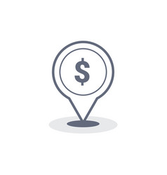 money dollar map location icons set fill and vector image