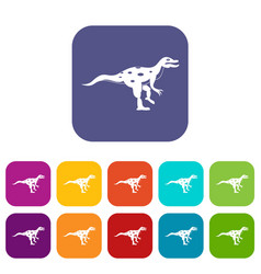 ornithopod dinosaur icons set flat vector image