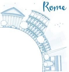 Outline Rome skyline with blue landmarks vector