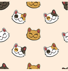 pattern with lucky cat maneki neko vector image