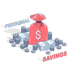Personal savings concept money bag with dollar vector