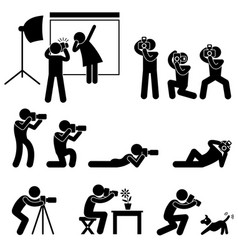 photographer cameraman paparazzi pose posing icon vector image