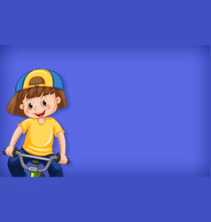 Plain background with happy girl riding bicycle vector