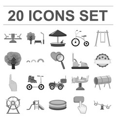 Playground entertainment monochrome icons in set vector