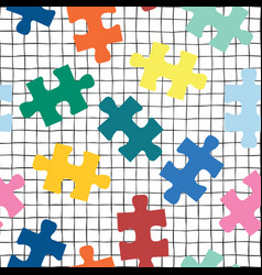puzzle pieces seamless background on a grid vector image