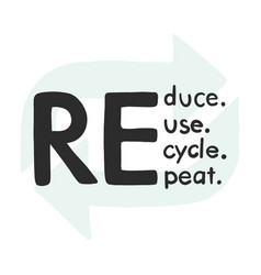 reduce recycle reuse repeate text icon hand-drawn vector image