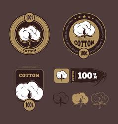 Retro cotton icons labels vector
