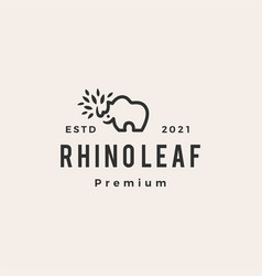rhino leaf hipster vintage logo icon vector image