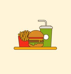 set hamburger french fries and soda flat design vector image