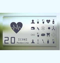 Set medicine and health flat icons collection vector