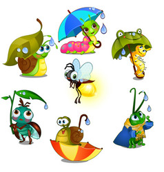 set of cute joyful insects isolated on white vector image