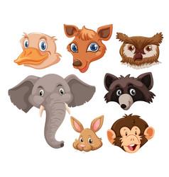 set of wild animals head vector image
