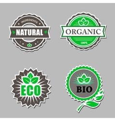 set organic labels - stickers for natural vector image