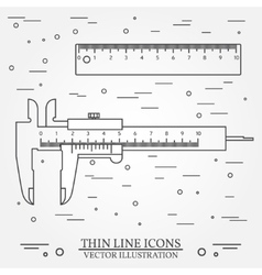 set thin line icons calipers and ruler vector image