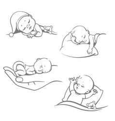 set with cute little sleeping balogo vector image