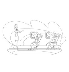 Sketch airplane crew and passenger characters vector