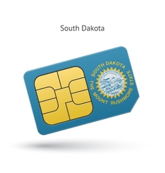 State of South Dakota phone sim card with flag vector